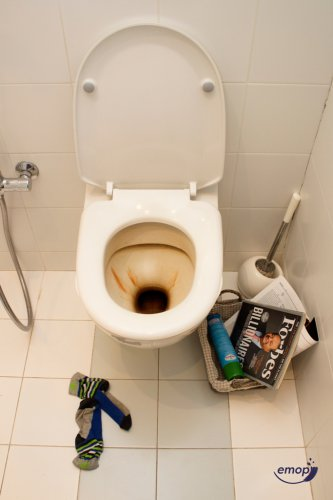 toilet bowl with limescale