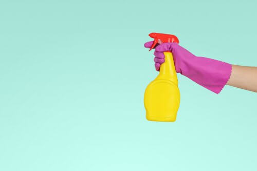 cleaning with spray and gloves