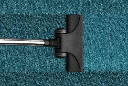 Vacuuming blue carpet