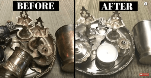 cleaned silver before after