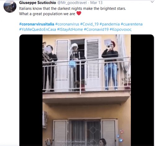 Italians singing outside balconies