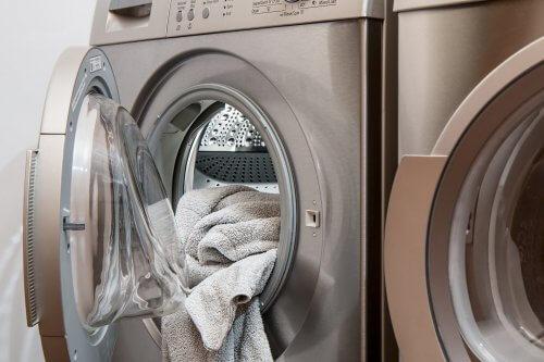 open door of washing machine