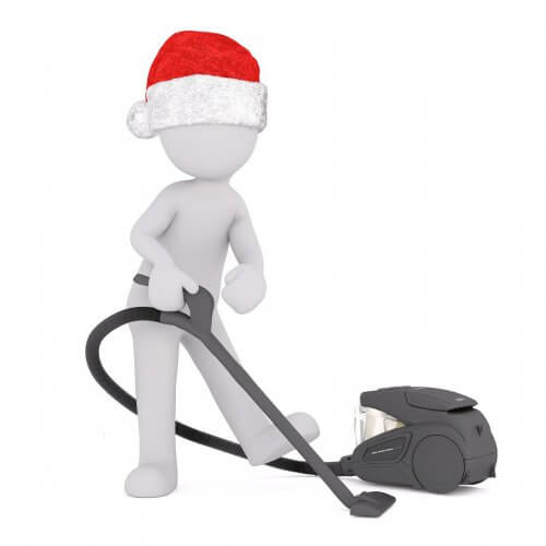 vacuuming on Christmas Day